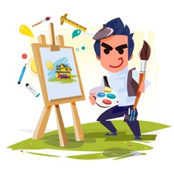 artist boy painting on canvas with art icons. character design. Creative people professions collection. - vector illustration