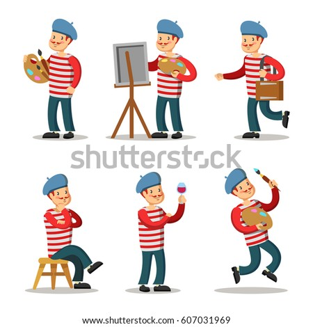 artist cartoon character set