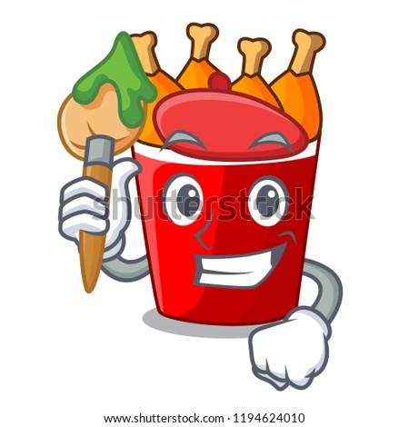 Artist character bucket chicken fried fast food