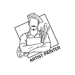 artist drawing vector logo icon clipart png wallpaper silhouette