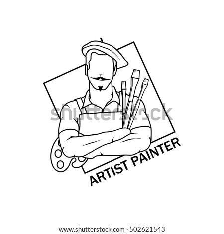 artist drawing vector logo icon