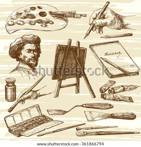 artist equipment   hand drawn...
