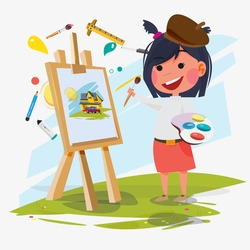 artist female or girl painting on canvas with art icons. character design. Creative people professions collection. - vector illustration