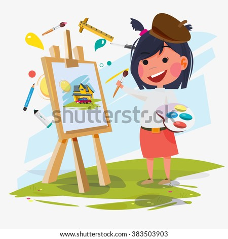 artist female or girl painting