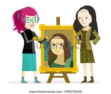 artist girl painting the mona