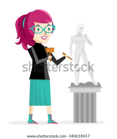 artist girl sculpting a david