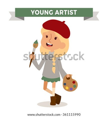 artist girl with art brush