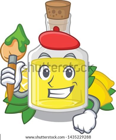 Artist lemon oil in the mascot shape