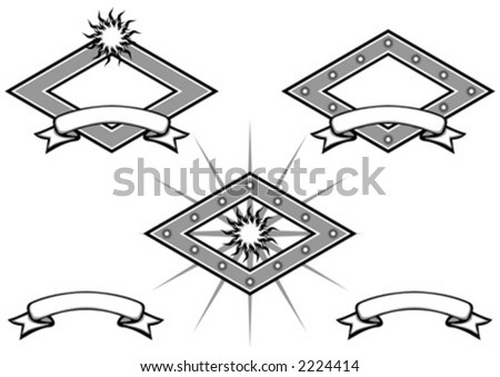 Artist logo with ribbons and different solutions - stock vector