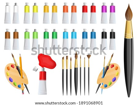 Artist paint tube and brush vector design illustration isolated on white background