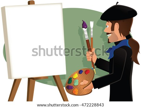 artist painting a blank canvas