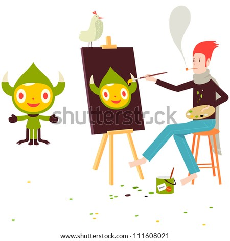 Artist painting a picture of a green horned character with bird