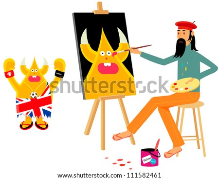 Artist painting union jack character on canvas