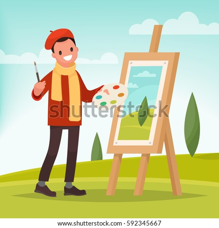 artist paints a picture of
