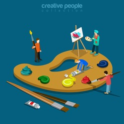 Artist palette flat 3d isometry isometric art concept web vector illustration. Huge color palette and painter painting picture on easel. Creative people collection.