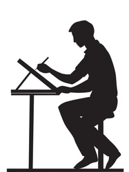 Artist, side view, using a pencil and drawing board, sitting at a table, vector illustration