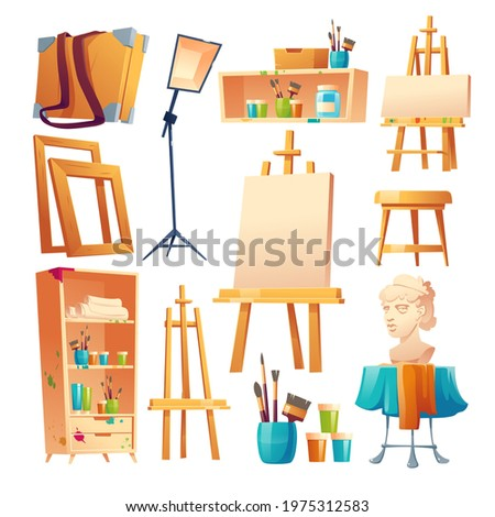 Artist studio, art classroom stuff set. Canvas on easel, paint brushes, wooden shelf and stool, plaster head, frames for pictures and lamp isolated on white background, Cartoon vector illustration