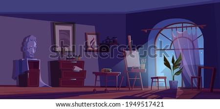 artist studio at night  empty
