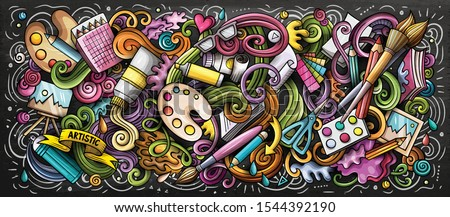 Artist supply color illustration. Visual arts doodles. Painting and drawing street art background. Color book cover. Graffiti handdrawn poster. Vector cartoon banner with hand drawn doodle elements