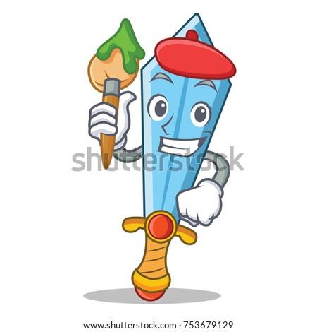 artist sword character cartoon