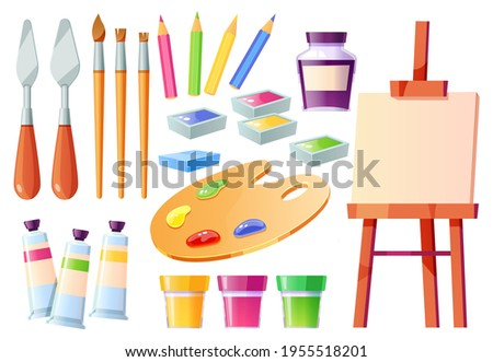 Artist tools, brushes, palette, easel and paints. Creative painter equipment for craft and drawing. Vector cartoon set of watercolor, acrylic and gouache, palette knife, white canvas and pencils