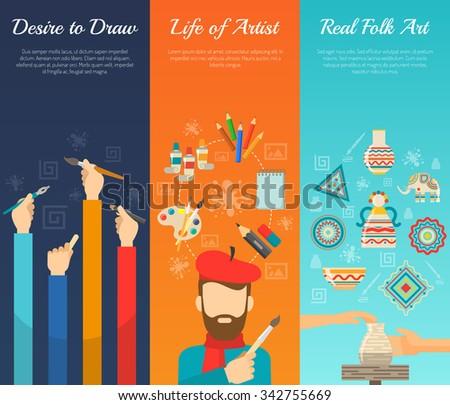artist vertical banner set with