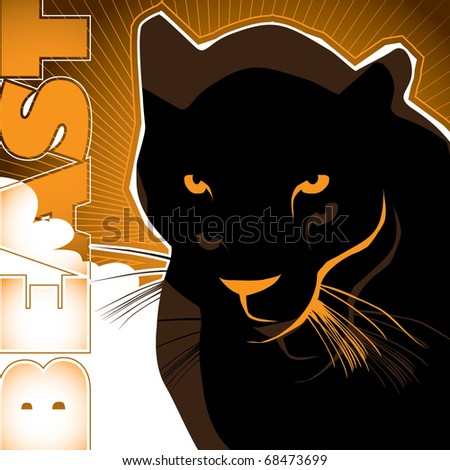 Artistic background with black puma. Vector illustration.