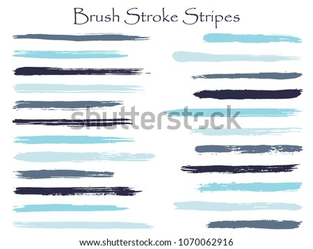 Artistic blue ink brush stroke stripes vector set, horizontal marker or paintbrush lines patch. Hand drawn watercolor paint brushes, smudge strokes collection. Interior paint color palette elements.