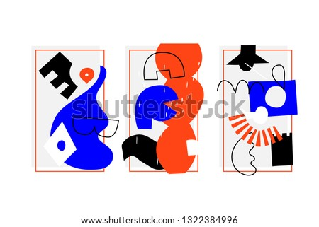 Artistic Collection Of Posters set In Handmade Technique. Bright bold design elements collection for Motion, textile, Magazine etc. Abstract Shapes Template. Orange Blue Black colors