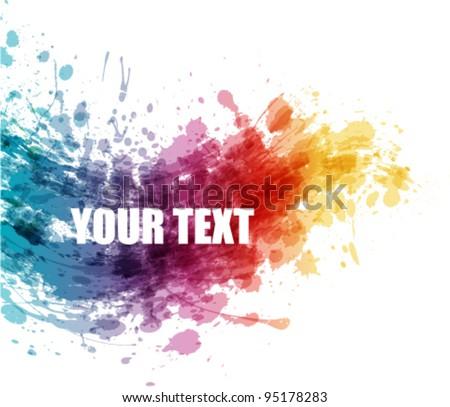 artistic colorful splash banner - stock vector