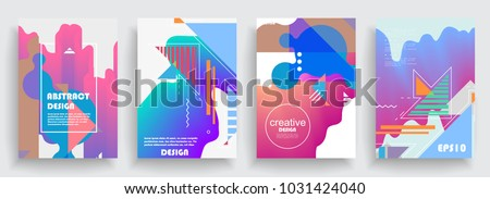 Artistic covers design. Creative colors backgrounds. Trendy futuristic design #1031424040