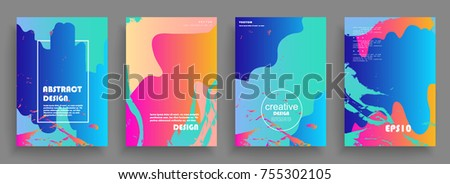Artistic covers design. Creative colors backgrounds. Trendy futuristic design #755302105