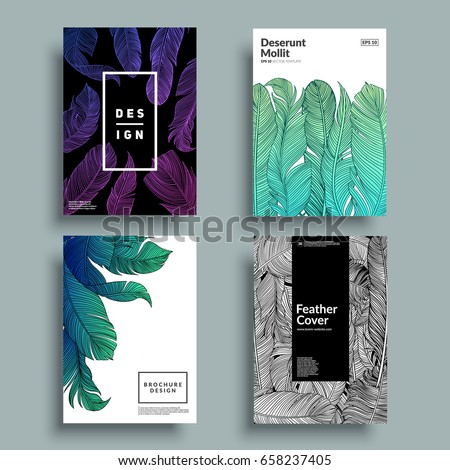 Artistic covers with feather patterns. Hand-drawn bird feathers composition. Eps10 vector illustration.