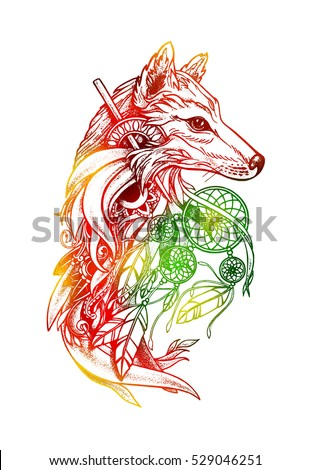 artistic fox with dreamcatcher