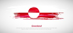 Artistic grungy watercolor brush flag of Greenland country. Happy national day of Greenland background