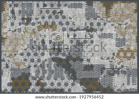 Artistic ikat pattern design   border. Geometric folk ornament. Ink on clothes. Tribal vector texture. Seamless collage  in Aztec style. Ethnic embroidery.  Scandinavian, Gypsy, Mexican, African rug.