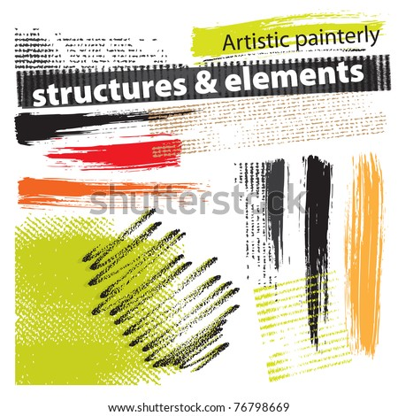Artistic painterly grunge structures & elements (set, vector)