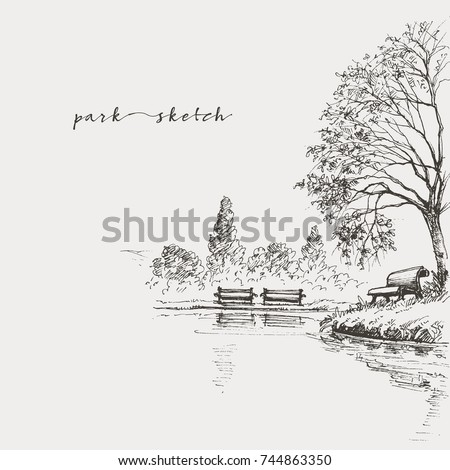 Artistic park sketch, bench and lake