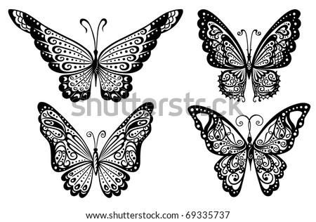 Artistic pattern with butterflies, suitable for a tattoo