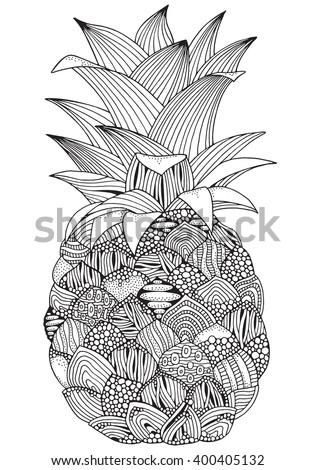 artistic pineapple on white