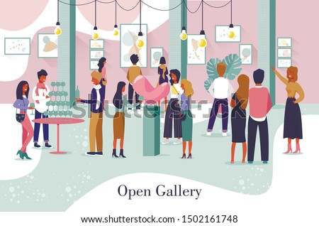 Artistic Poster Advertising Open Gallery Event. Cartoon Male Female People Character and New Museum Viewing Exhibits, Artworks and Paintings. Artist and Visitors Celebrate Opening. Vector Illustration