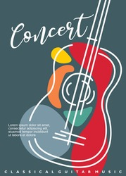 Artistic poster artwork for classical guitar music concert. Contemporary style abstract line art guitar drawing. Musical event vector flyer illustration concept.