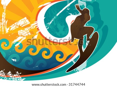 Artistic retro surfing poster. Vector illustration.