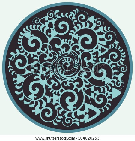 Artistic rosette with decorative  sea elements. vector illustration in circle.