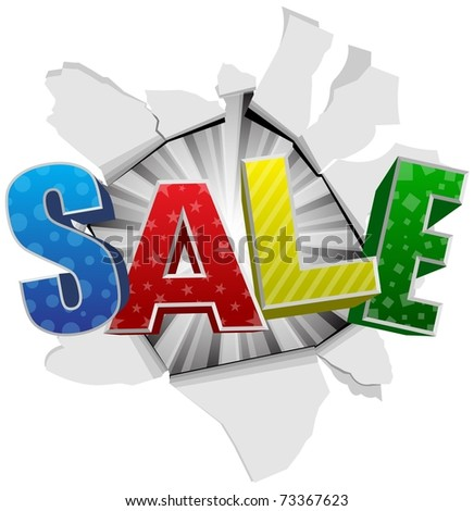 Artistic sale design on rip paper