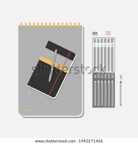 Artistic sketchbook with pencil. Designer's notepad for drawing. Basic set of markers. Isolated illustration.