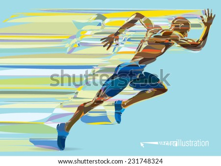 artistic stylized running man