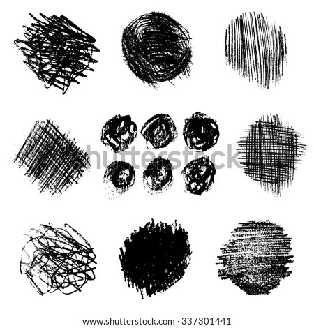 Artistic vector set of pencil hatching. Hand drawn collection