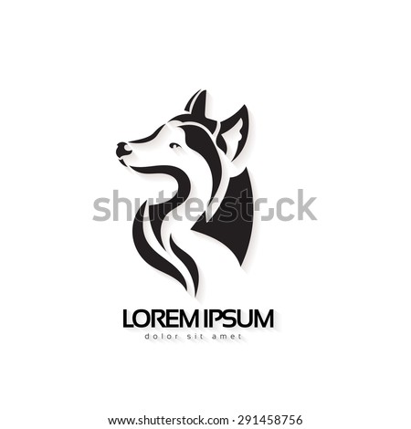 artistic vector silhouette wolf