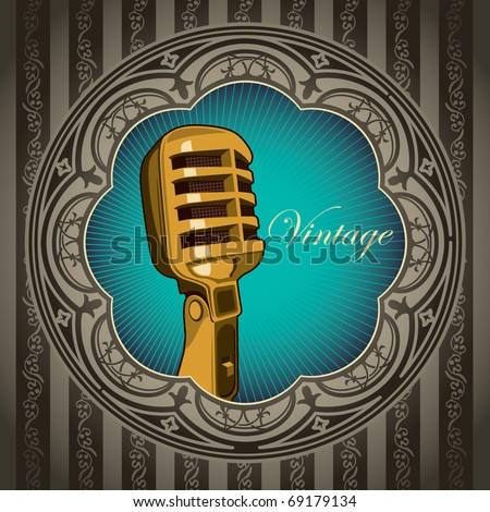Artistic vintage banner with old microphone. Vector illustration.
